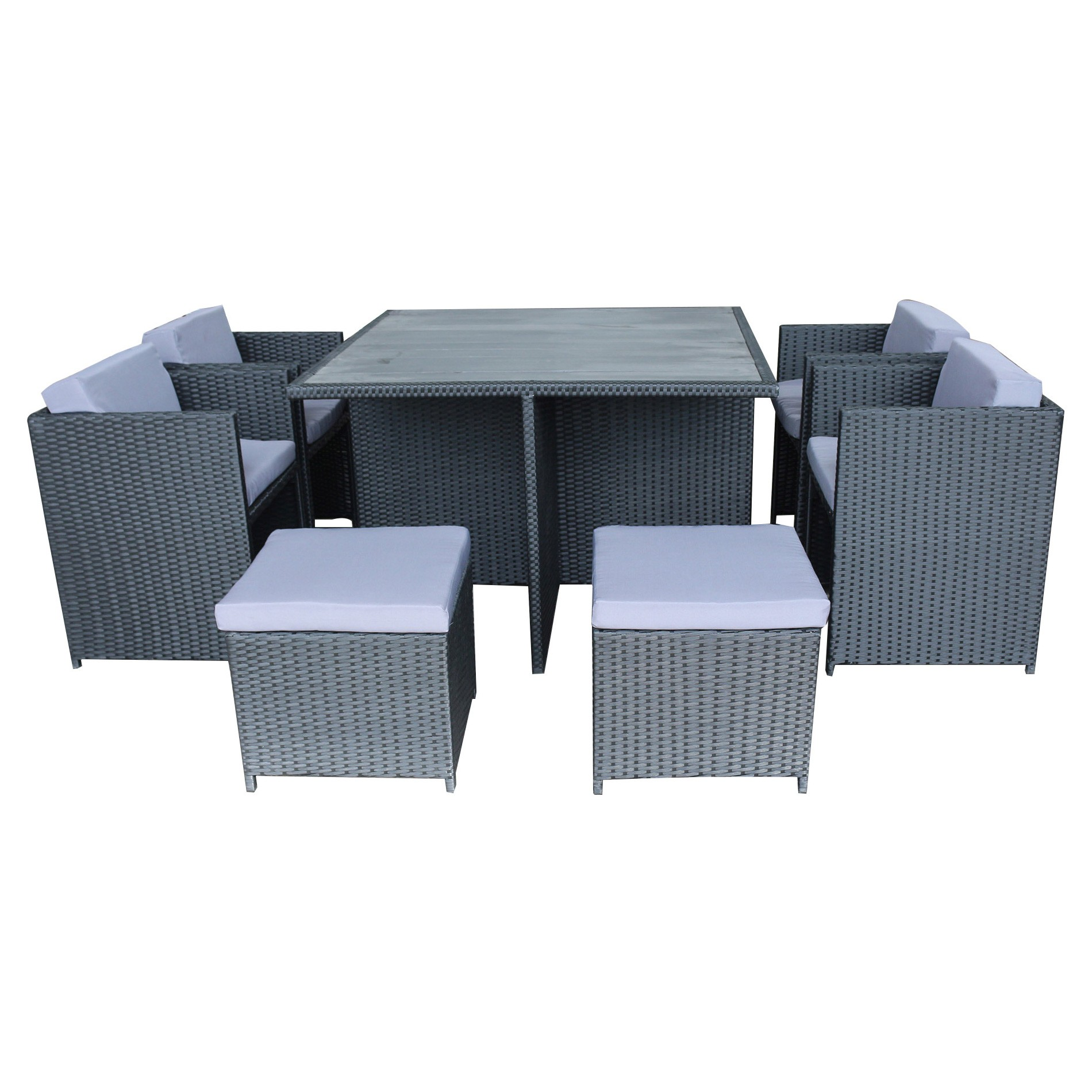 Messina 9 Piece Outdoor Wicker Dining Table Set, Black