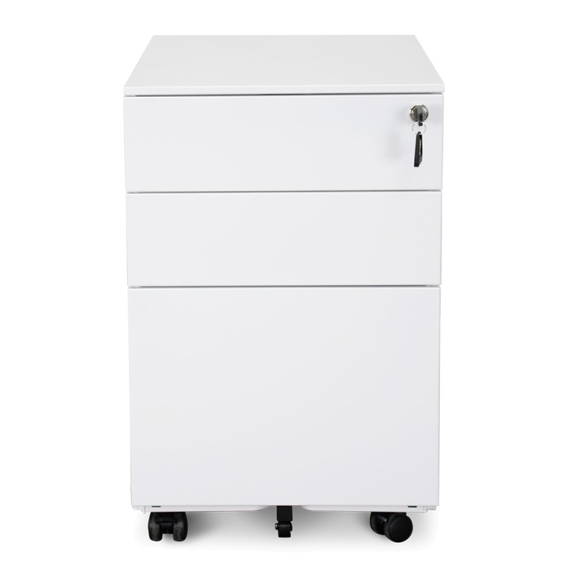 Desio 3 Drawer Moblie Pedestal File Cabinet, White