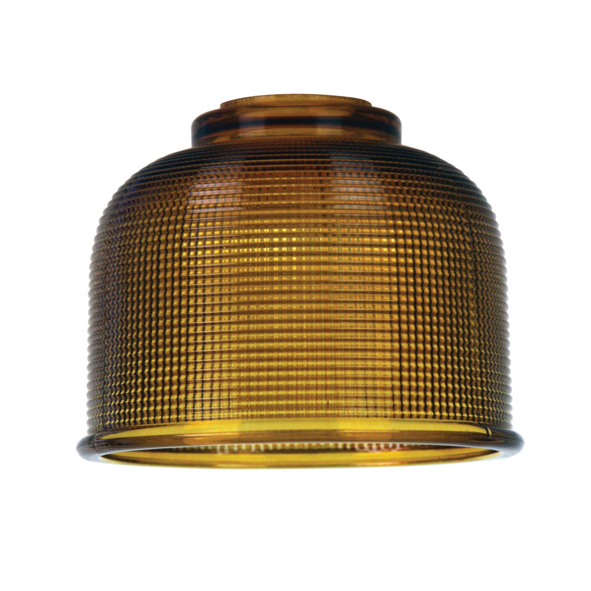 Maison Halophane Glass Pendant Light Shade, 15cm, Amber