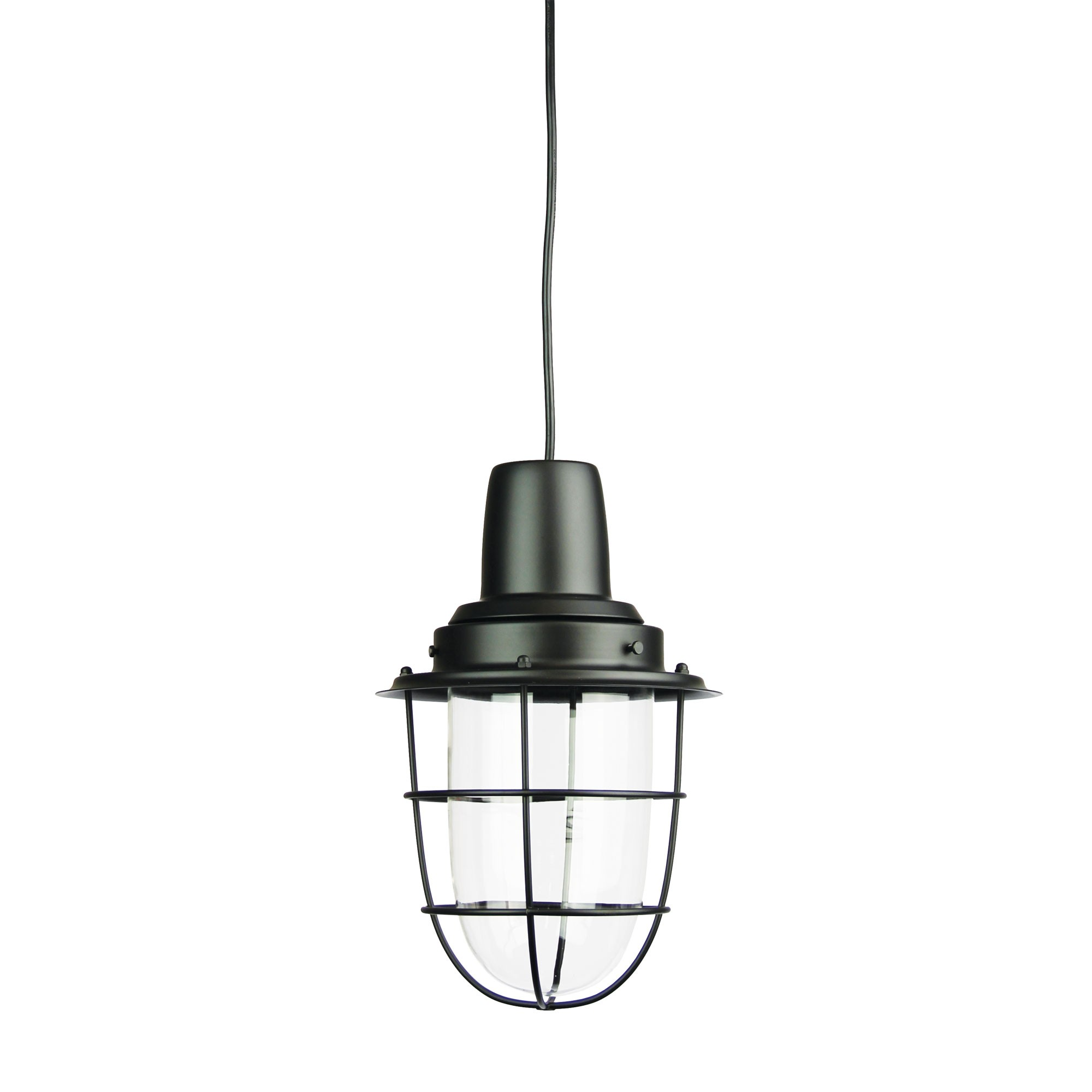 Flint Glass & Metal Pendant Light, Black