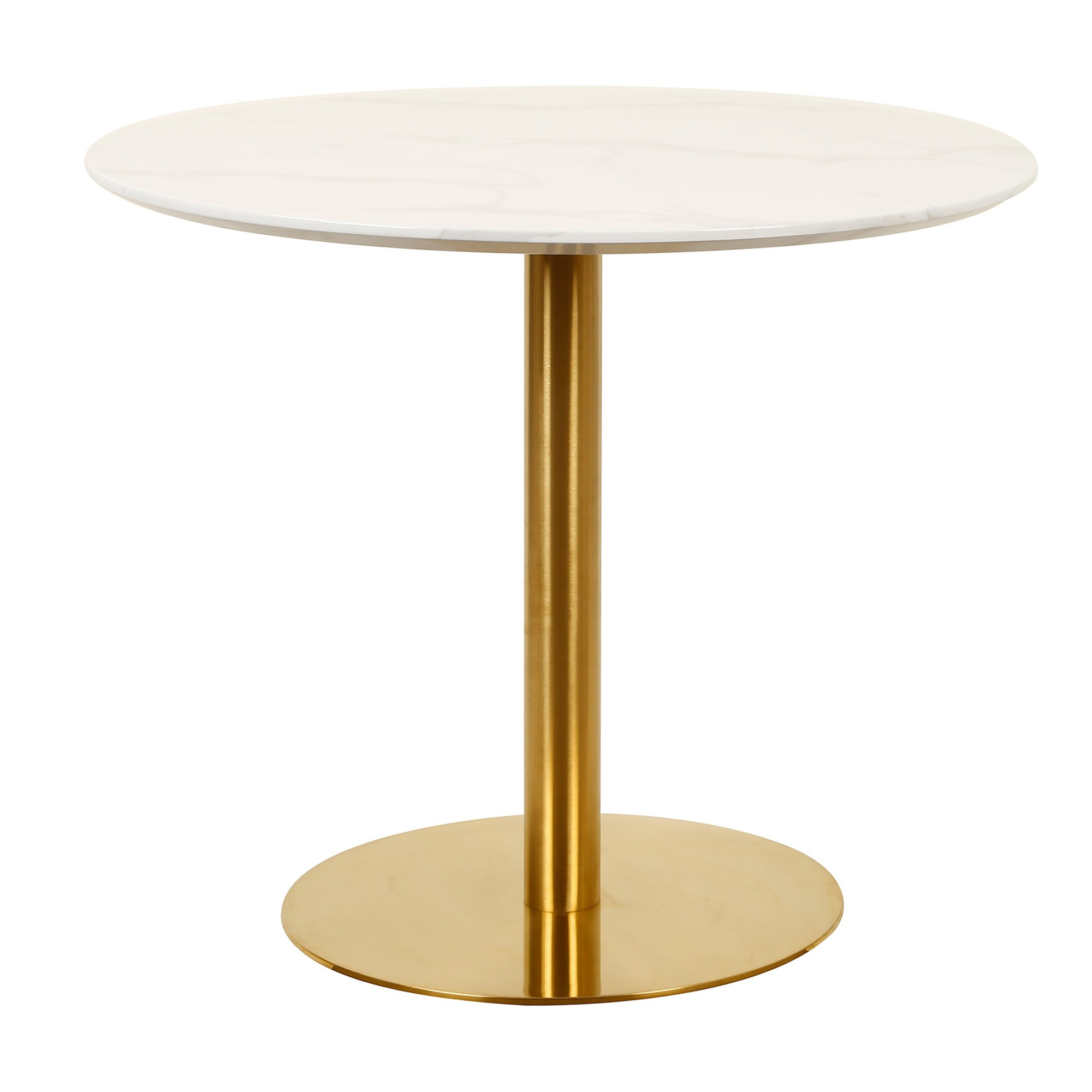 Oaklee Round Dining Table, 90cm, White Agaria / Gold