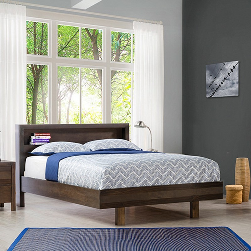 Trend New Zealand Pine Queen Bed in Charcoal
