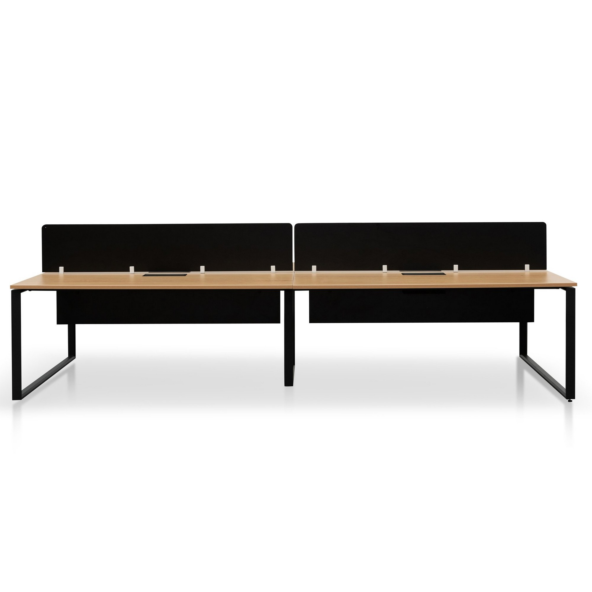 Lacasa Back-to-Back Workstation Desk with Black Screen, 4 Seats, 360cm, Natural / Black