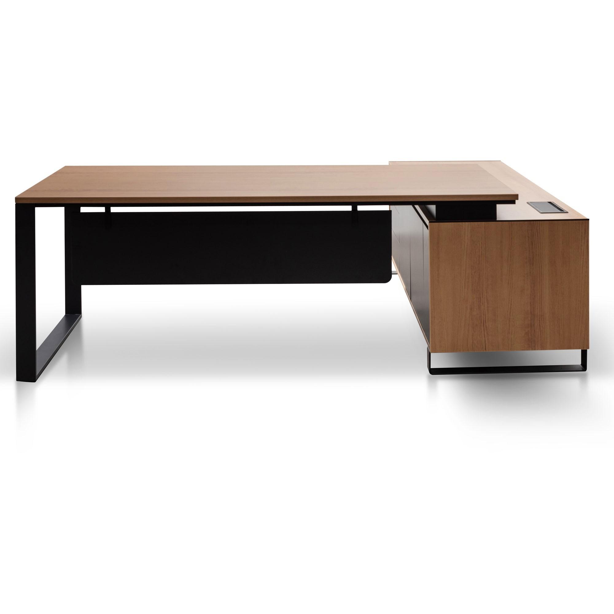 Laverne Executive Office Desk, Left Return, 230cm, Walnut / Black