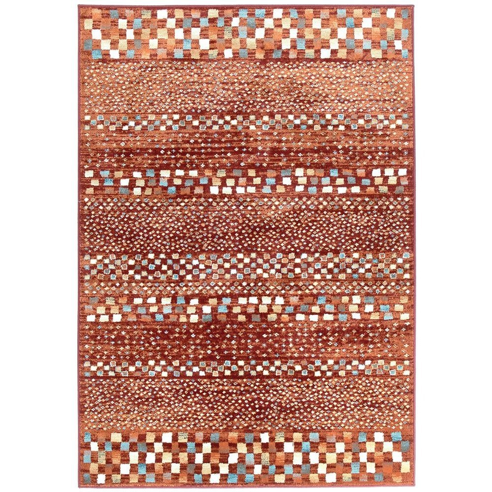 Mayfair Squares Traditional Rug, 160x230cm, Rust