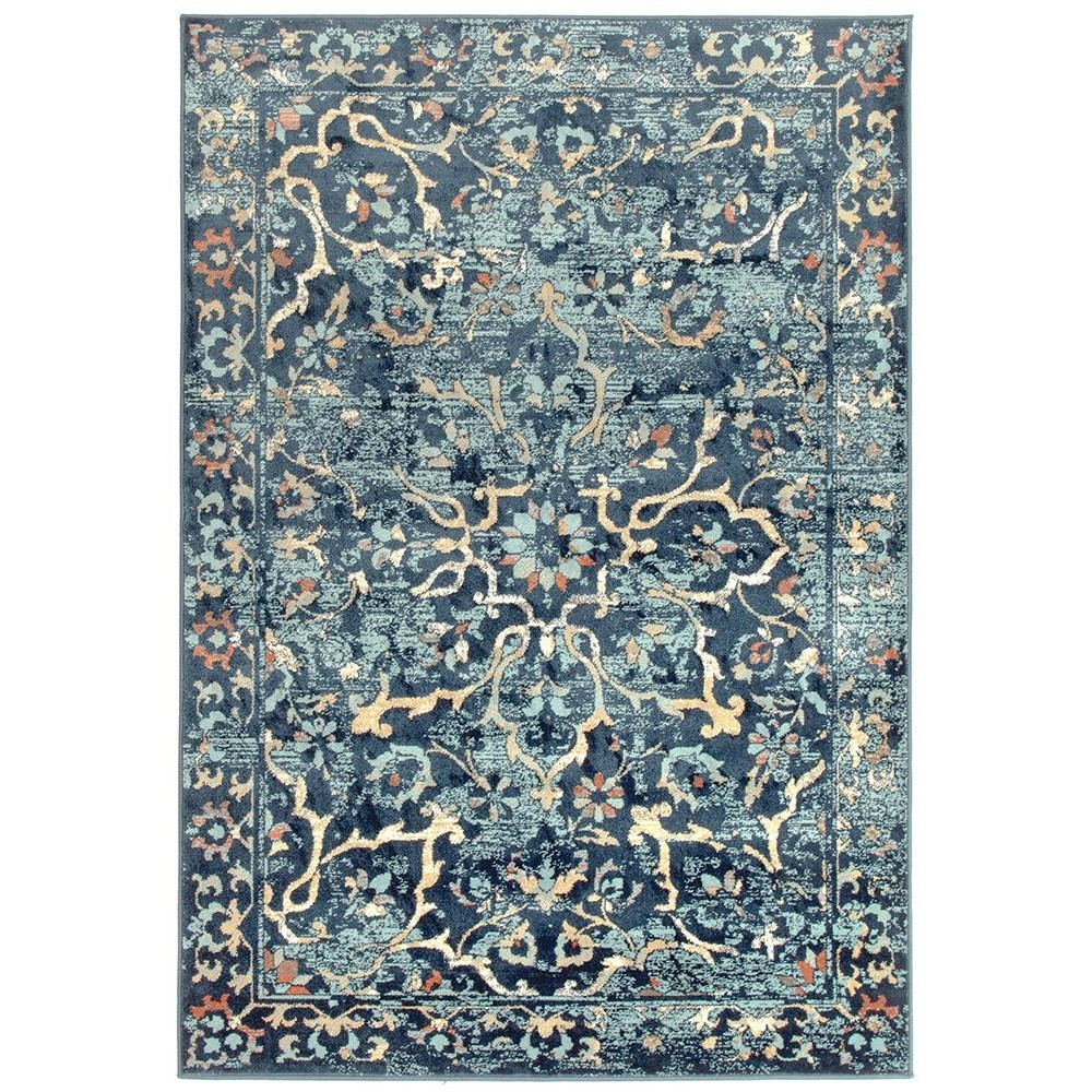 Mayfair Stem Traditional Rug, 200x290cm, Navy