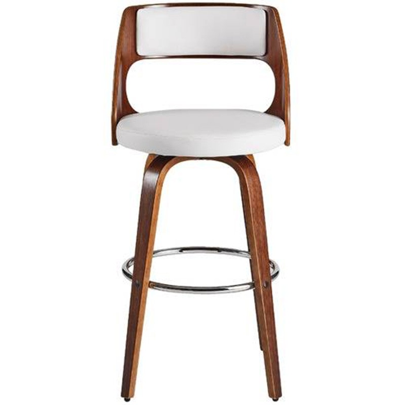 Oslo Commercial Grade Swivel Bar Stool, White / Walnut with Silver Footrest