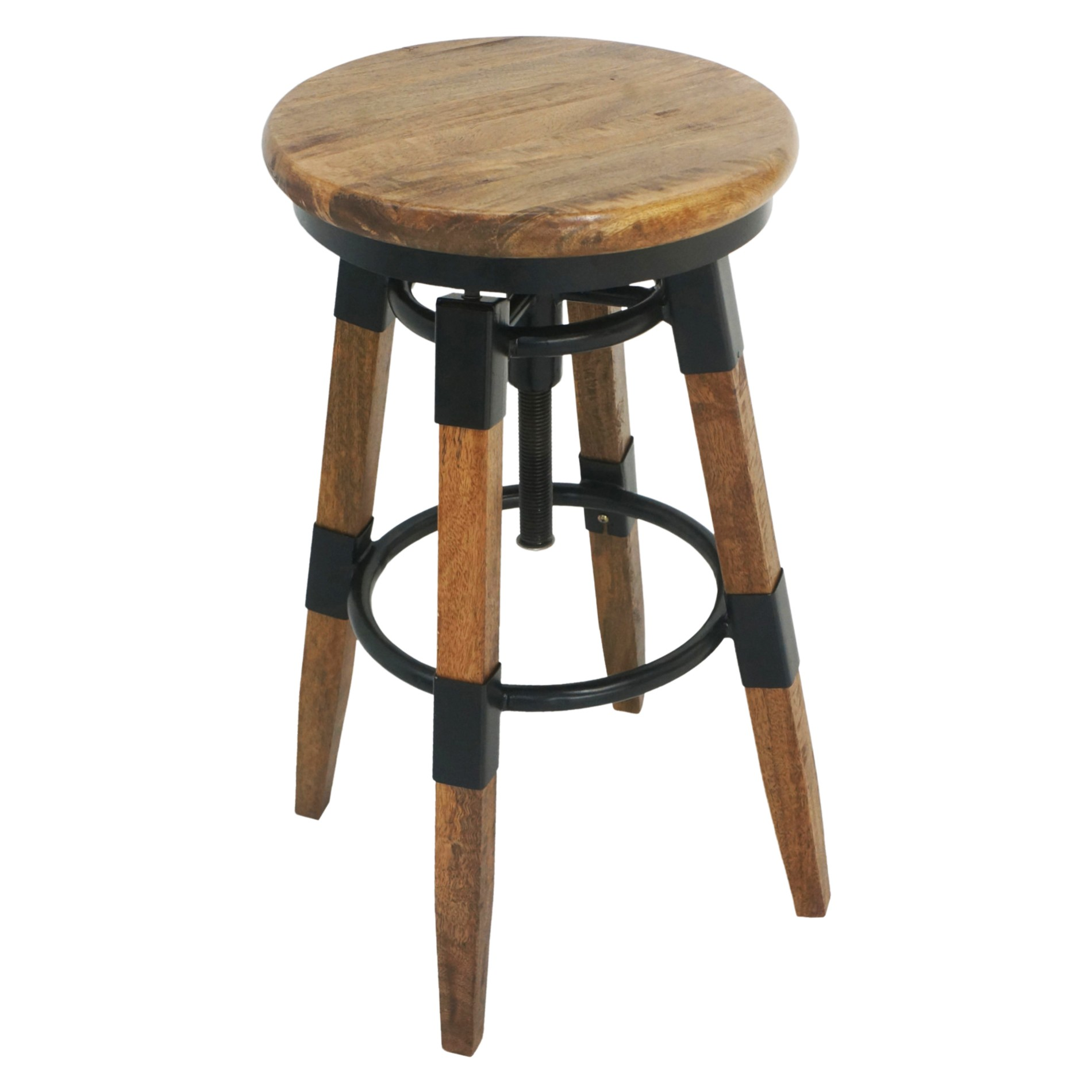 Mayfair Mango Wood Adjustable Industrial Counter / Bar Stool