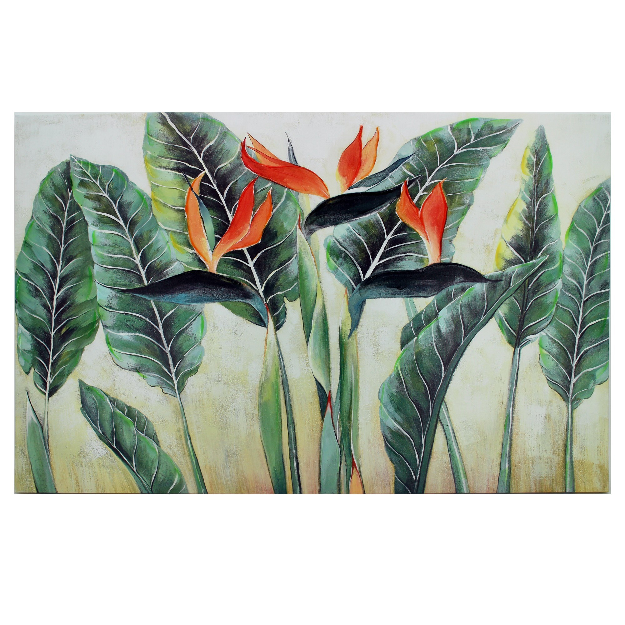 Bird of Paradise Stretched Hand Painted Canvas Wall Art, 110cm