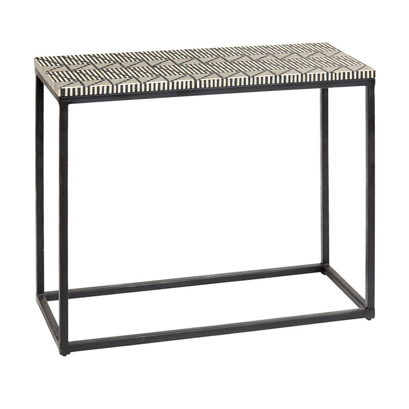 Zetta Bone Inlay & Metal Console Table