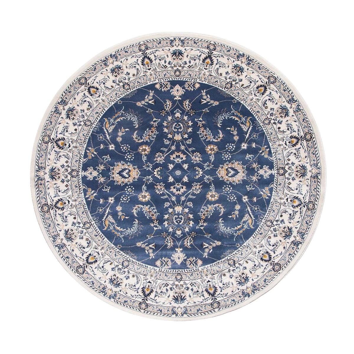 Palace Aisha Oriental Round Rug, 200cm, Blue/White