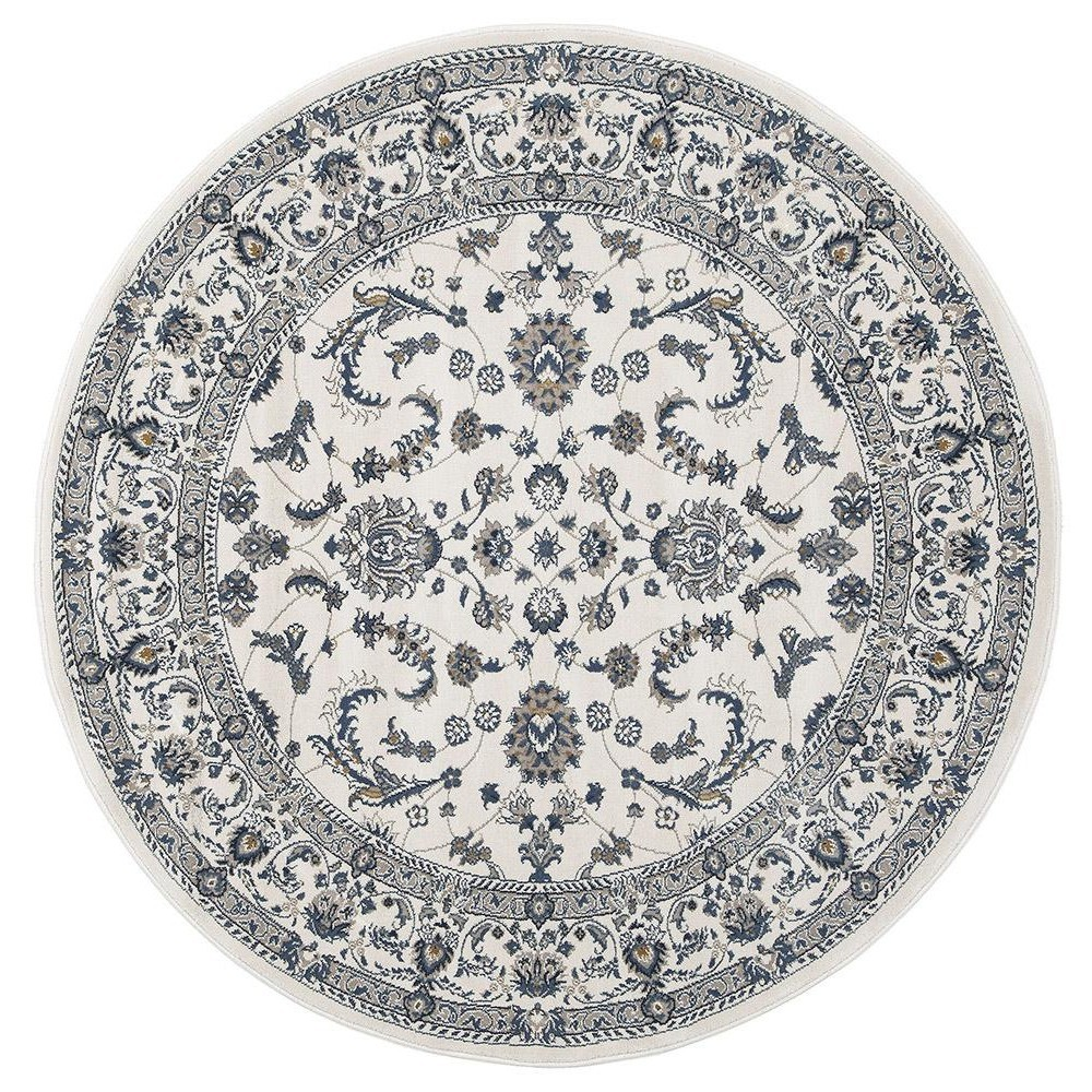 Palace Aisha Oriental Round Rug, 150cm, White/White