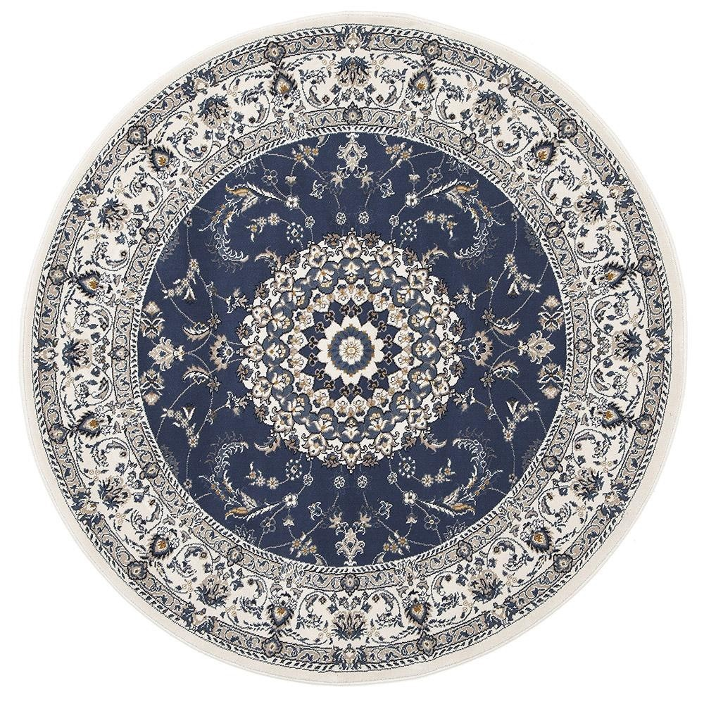 Palace Manal Oriental Round Rug, 240cm, Blue/White