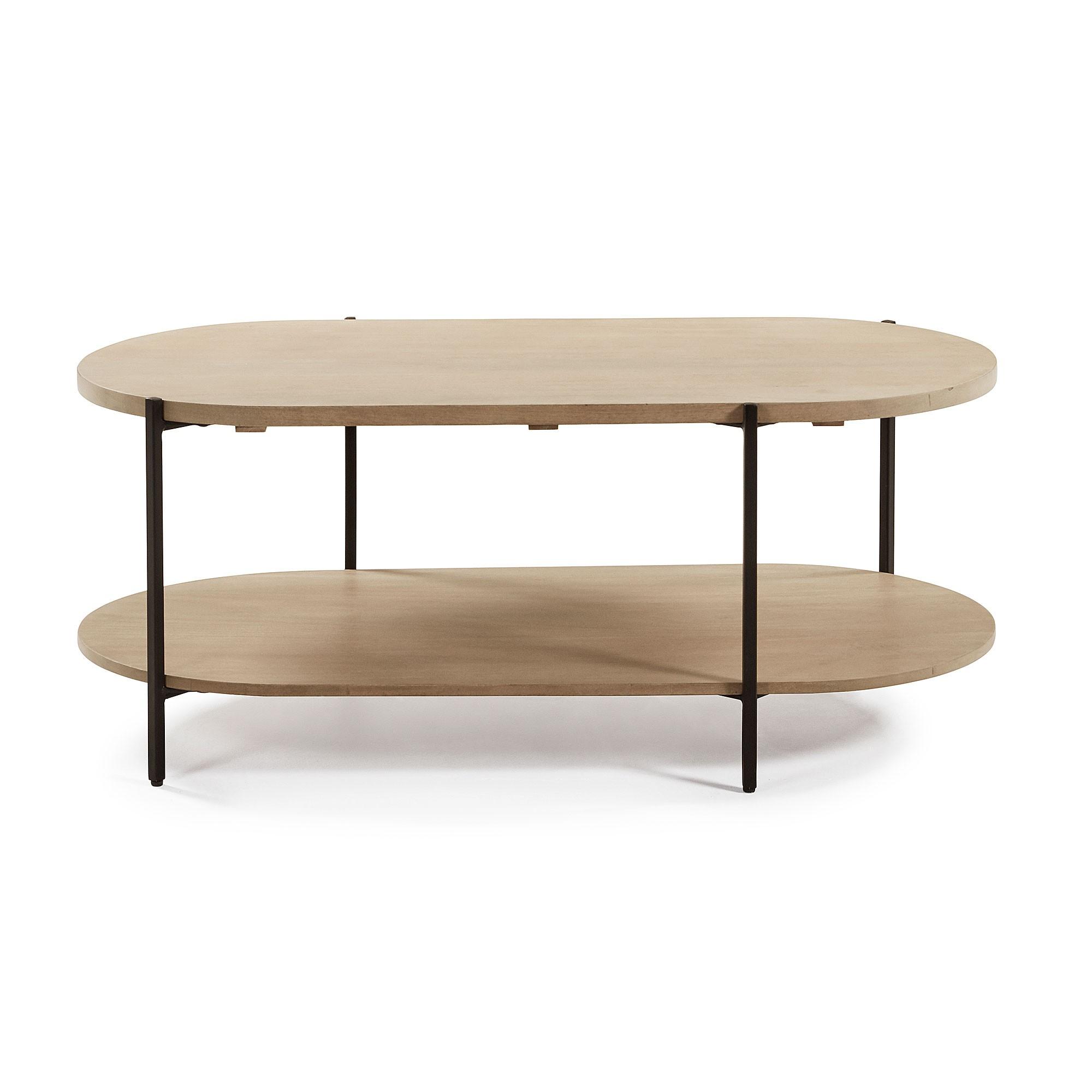 Aparador Mango Wood & Iron Oval Coffee Table, 110cm