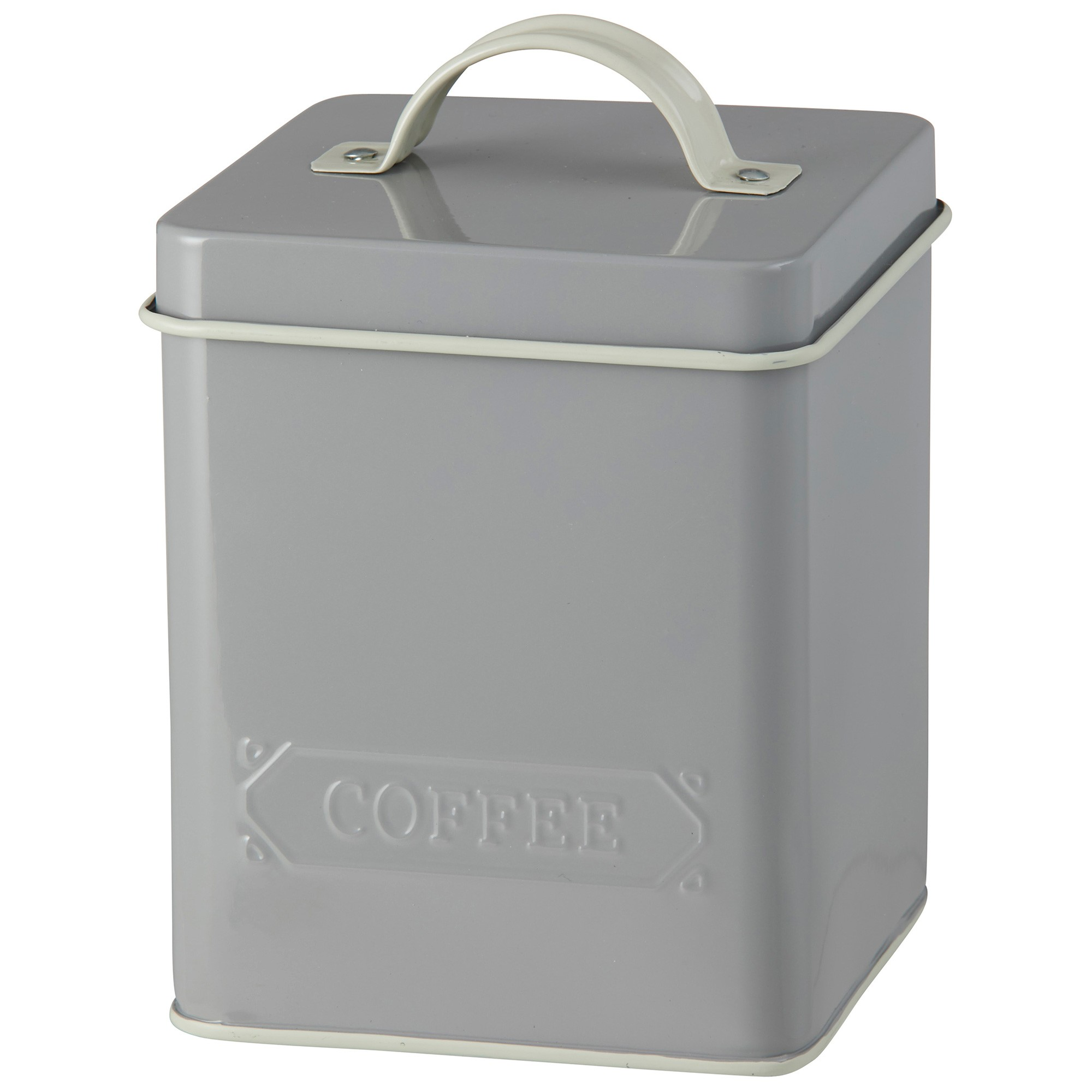 Pantry Embossed Carbon Steel Coffee Canister, Grey
