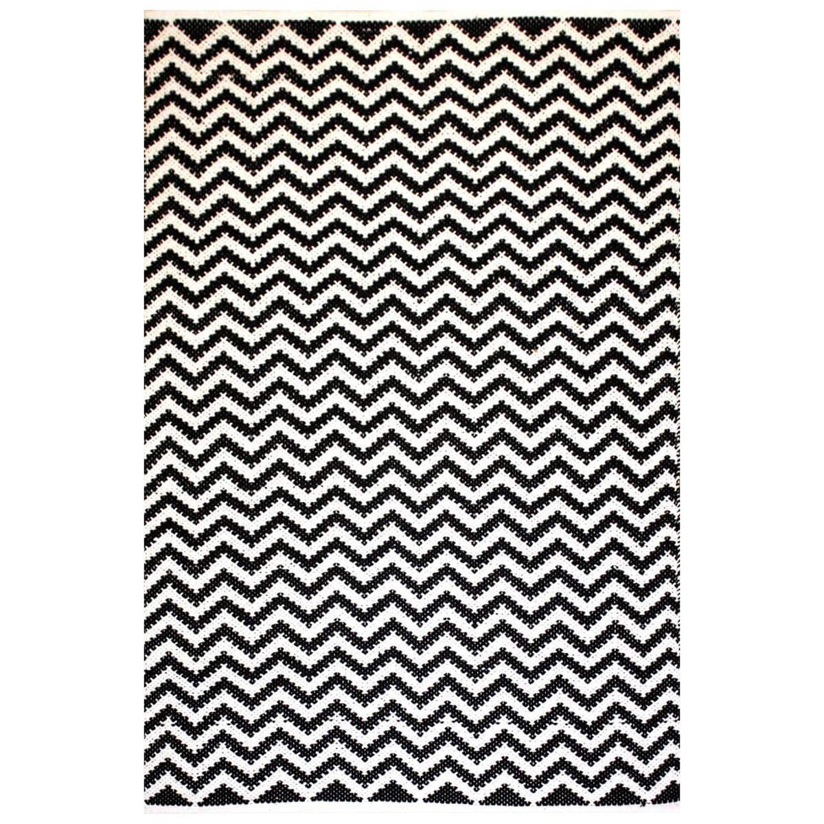 Parker Handwoven Chevron Cotton Rug, 130x70cm, Black / White