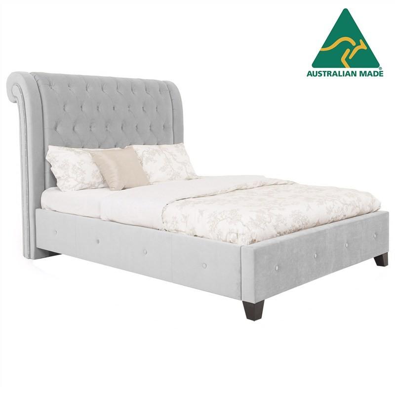 Paris Australian Made Fabric Bed, King Size, Smoke