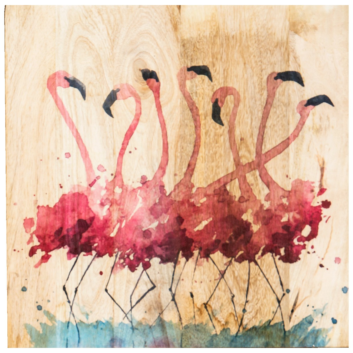 Flamingo Printed Wooden Board Wall Art, 60cm