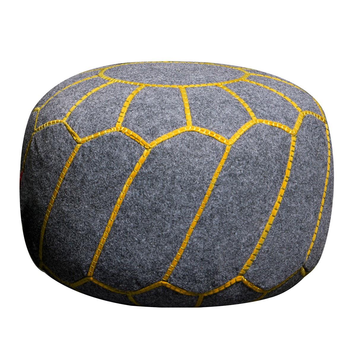 Yuba Felt Round Pouf, Grey / Yellow