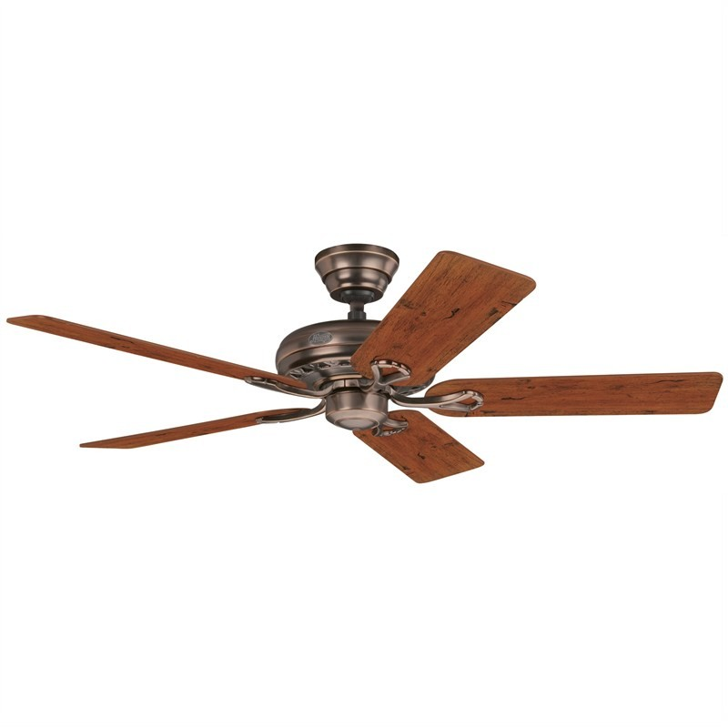 Hunter Savoy Commercial Grade Amber Bronze Ceiling Fan with Distressed Cherry / Mahogany Switch Blades