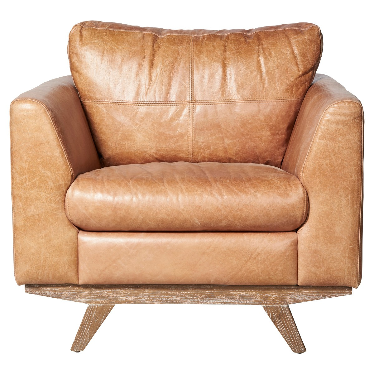 Milan Leather Armchair, Tan