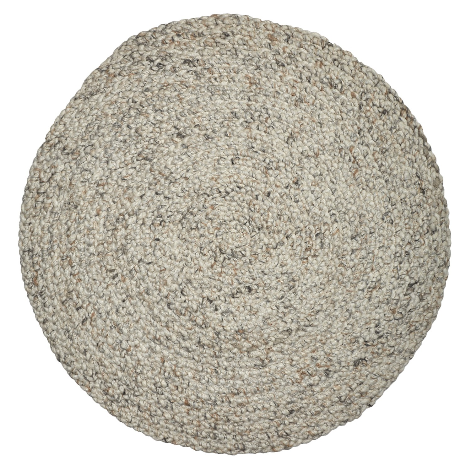 Plait Handwoven Round Wool Rug, 150cm, Natural