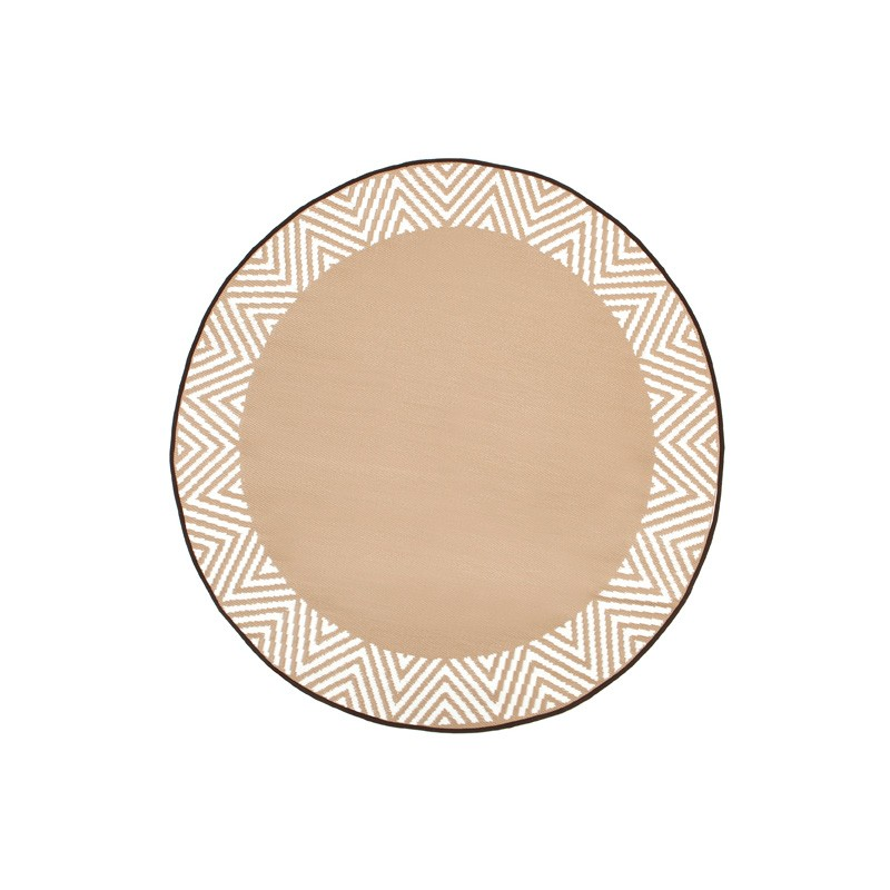 Olympia Reversible Indoor/Outdoor Round Rug, 180cm, Beige