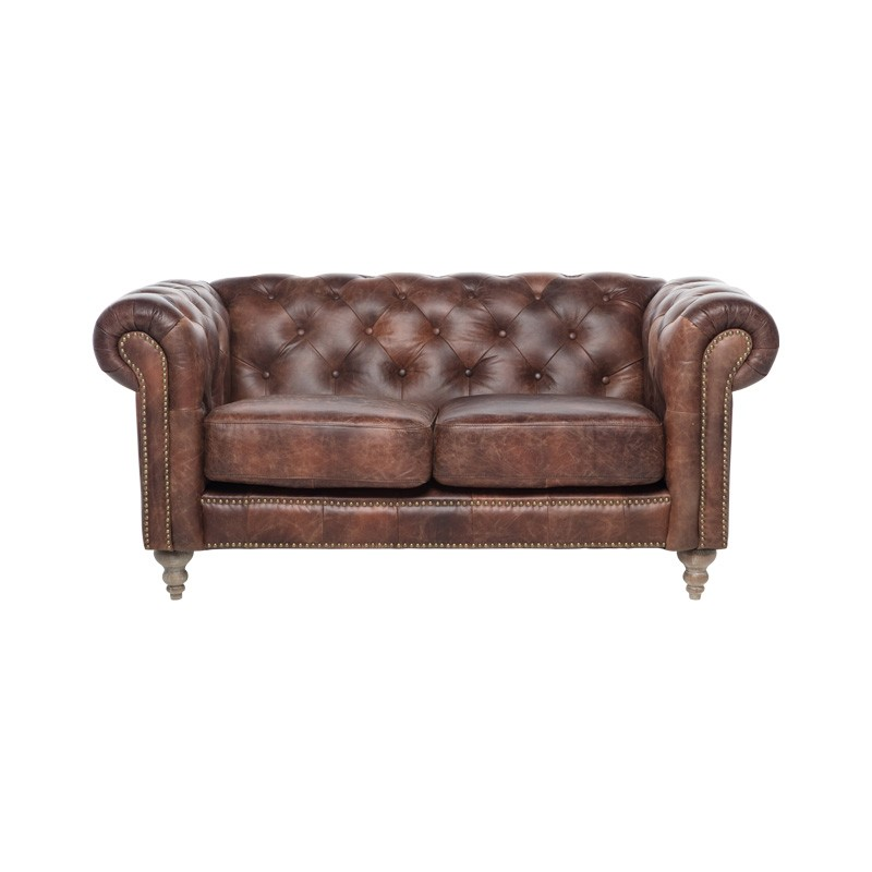 Rose Hill Leather Chesterfield Sofa, 2 Seater