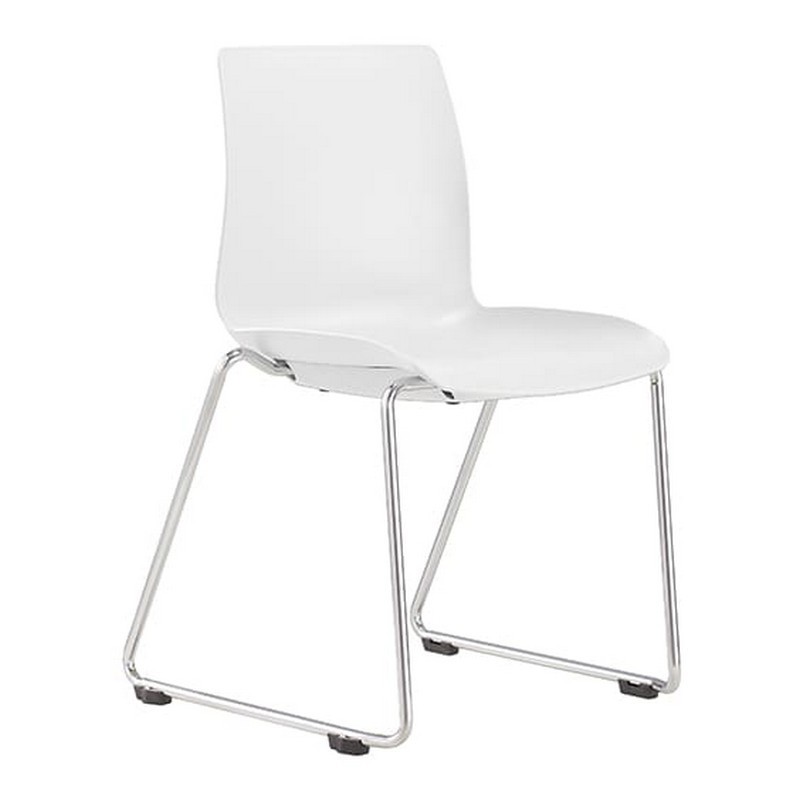 Pod Stackable Client Chair, Sled Leg, White