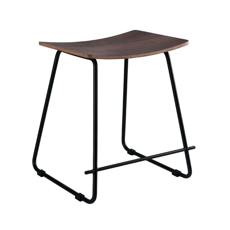 Porter Commercial Grade Steel Table Stool,  Walnut / Black