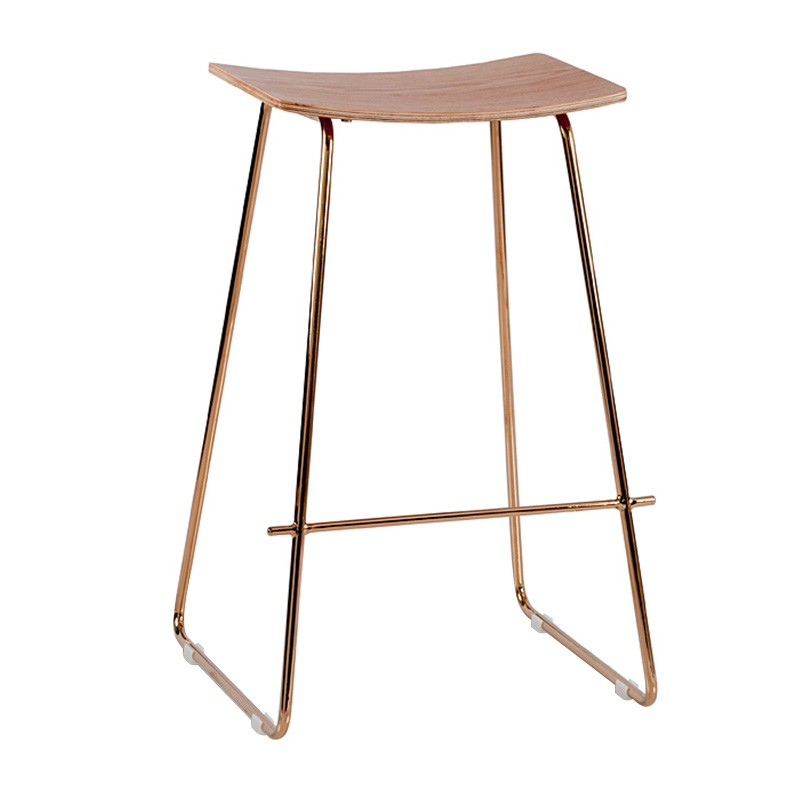Porter Commercial Grade Steel Bar Stool, Natural / Rose Gold