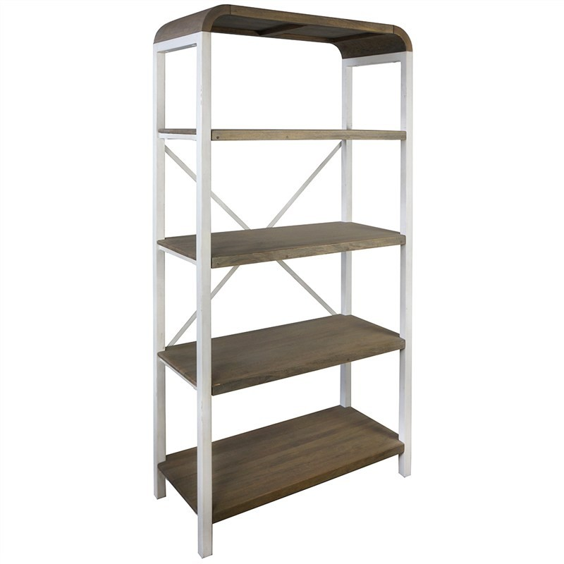 Hixton 5 Tier Solid Mango Wood Timber & Metal Display Shelf, White