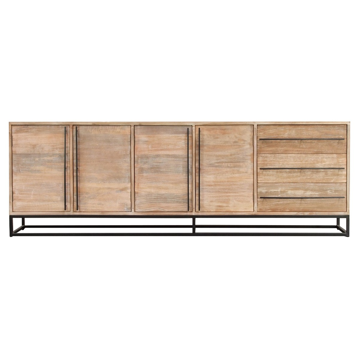 Pontons Mango Wood 4 Door 3 Drawer Sideboard, 230cm-I