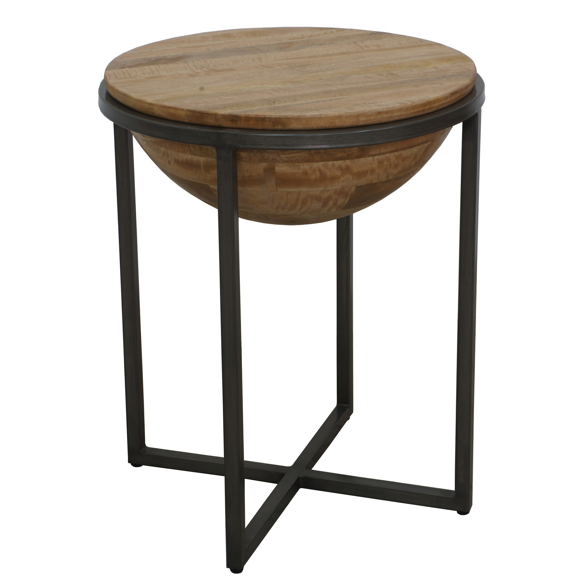 Bodet Mango Wood & Metal Round Side Table