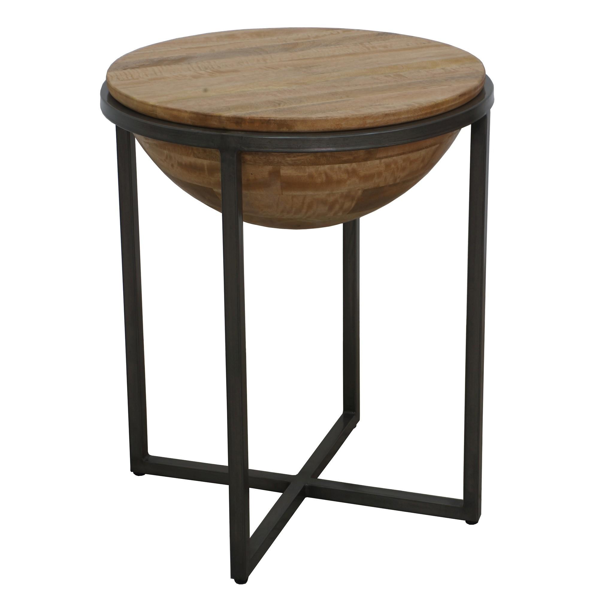 Bodet Mango Wood & Metal Round Side Table