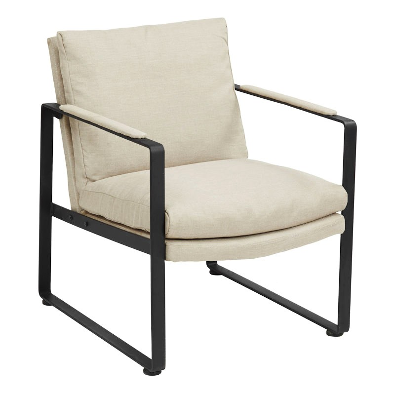 Cooper Fabric Upholstered Metal Lounge Armchair