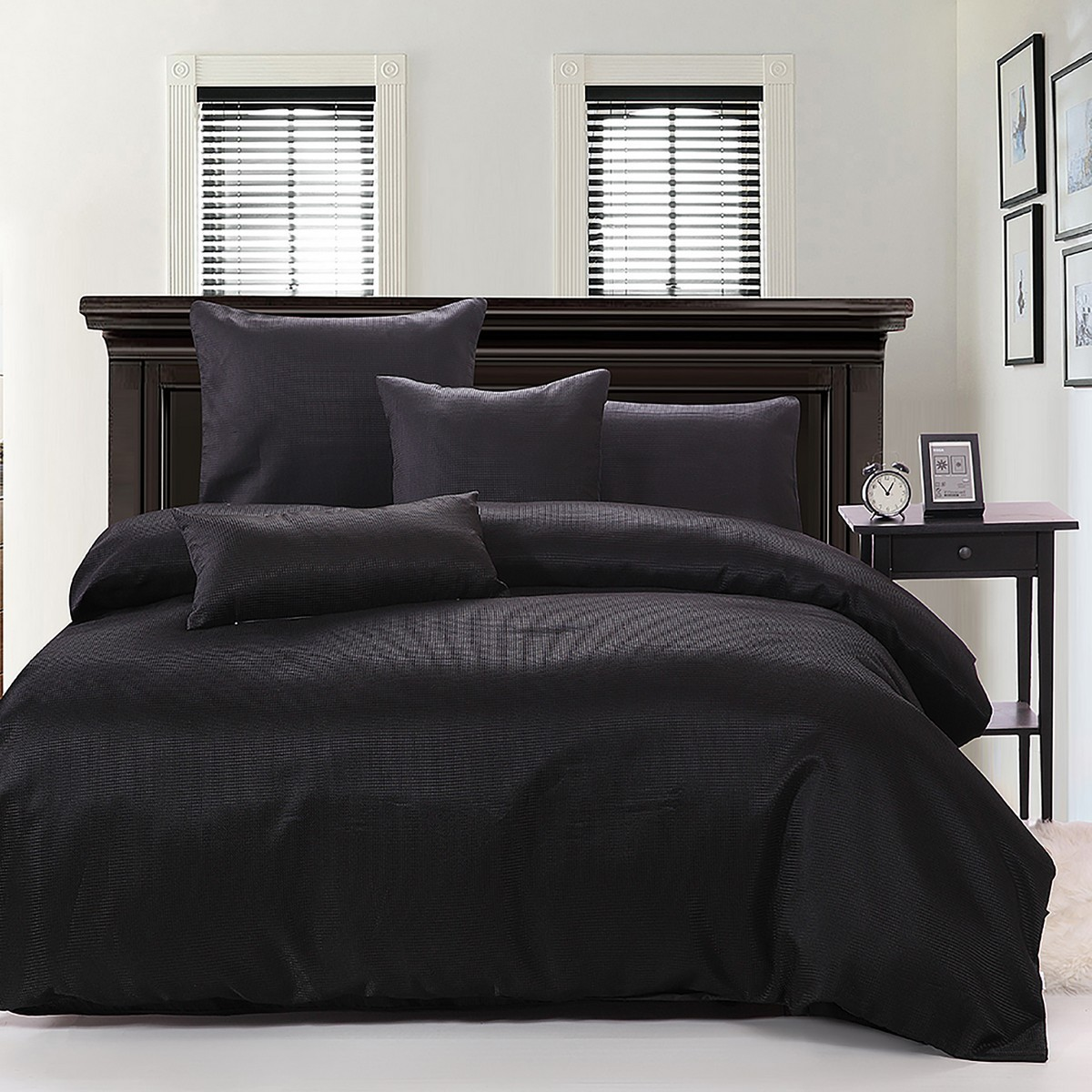 Ardor Boudoir Waffle Quilt Cover Set, Double, Black