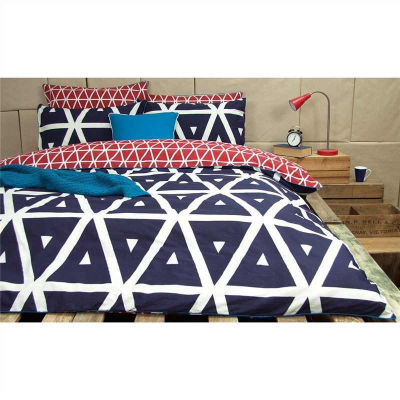 Cronombie Queen Size Reversible Cotton Quilt Cover Set - Navy