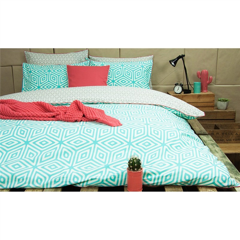 Wathe Double Size Reversible Cotton Quilt Cover Set - Aqua