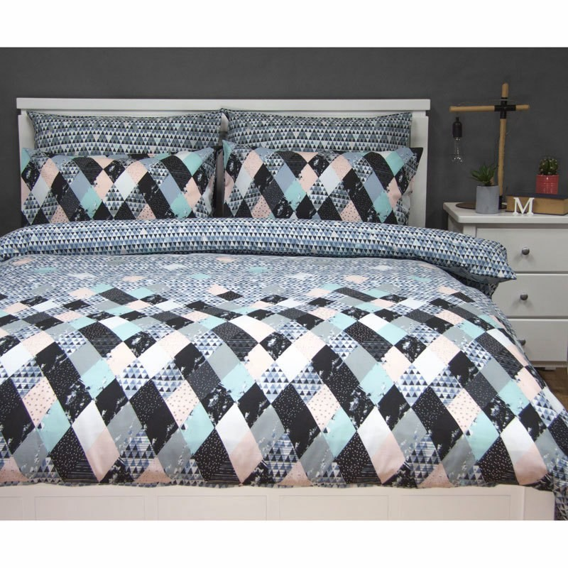 Axel Queen Size Reversible Printed Quilt Cover Set - Blue