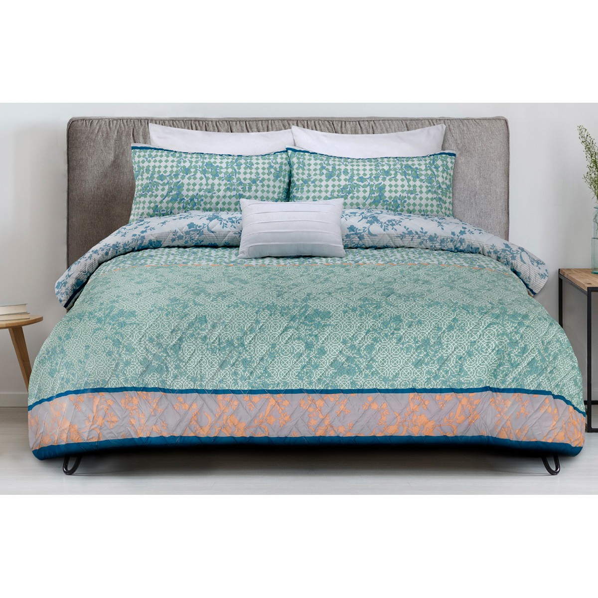 Tangier 3 Piece Printed Embossed Quilt Cover Set, Queen