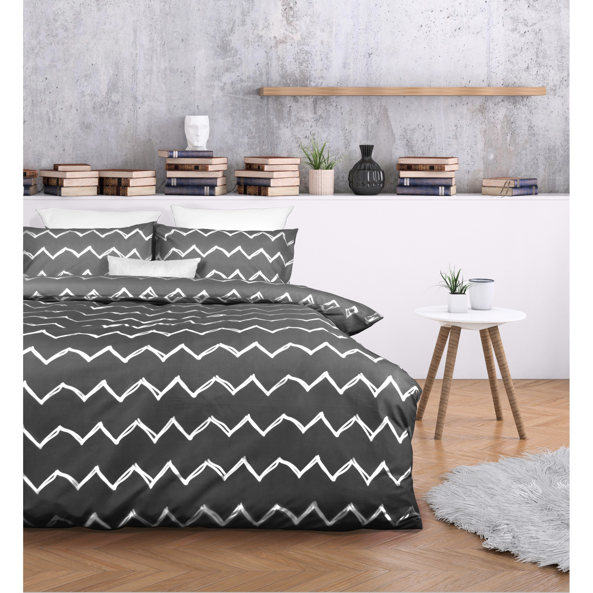 Essentially Home Living Zachary Microfibre Quilt Cover Set, Double, Charcoal