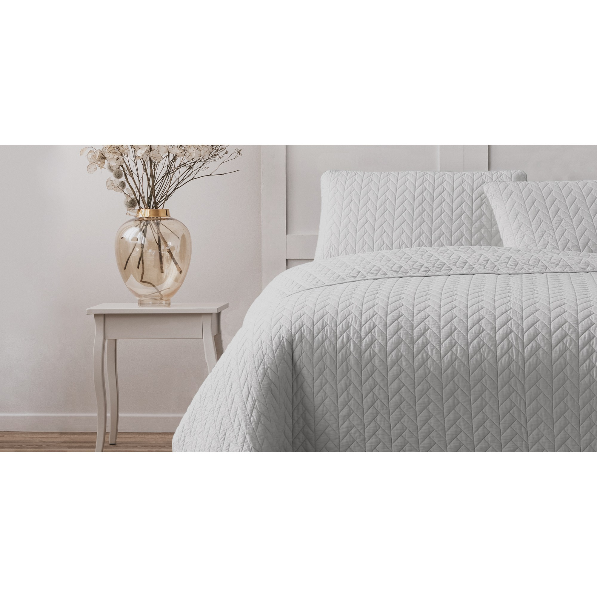 Ardor Boudoir Maya Quilted Quilt Cover Set, Queen, White