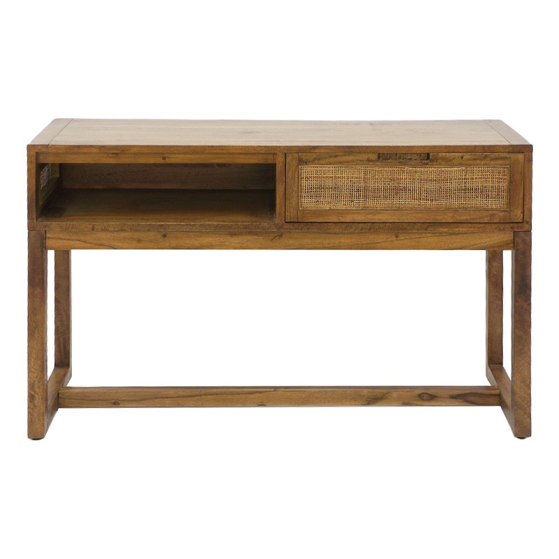 Balonne Mango Wood & Rattan Console Table, 120cm, Natural