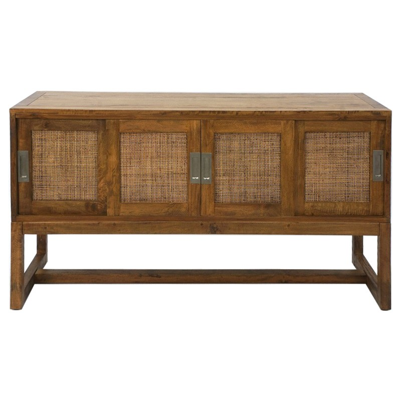 Balonne Mango Wood & Rattan 4 Door Sideboard, 145cm, Natural