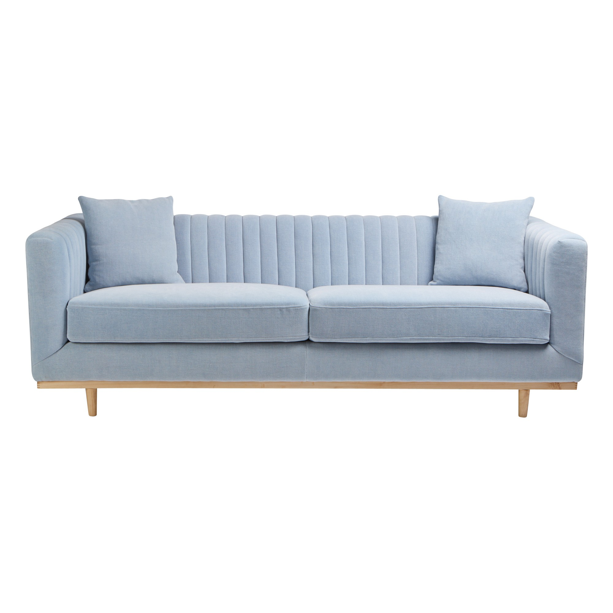 Raphael Velours Fabric Sofa, 3 Seater, Blue