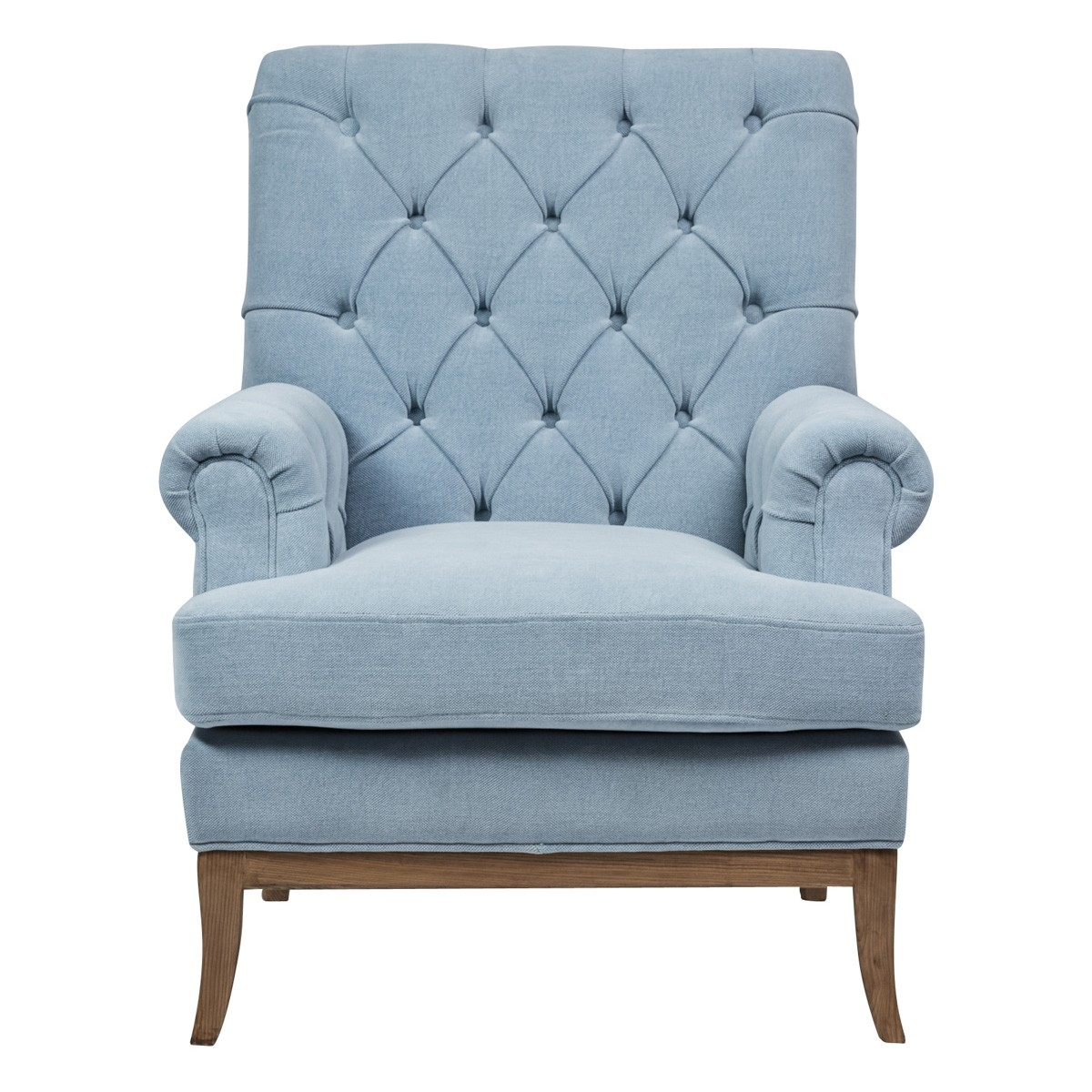 Louisa Velours Fabric Armchair, Blue