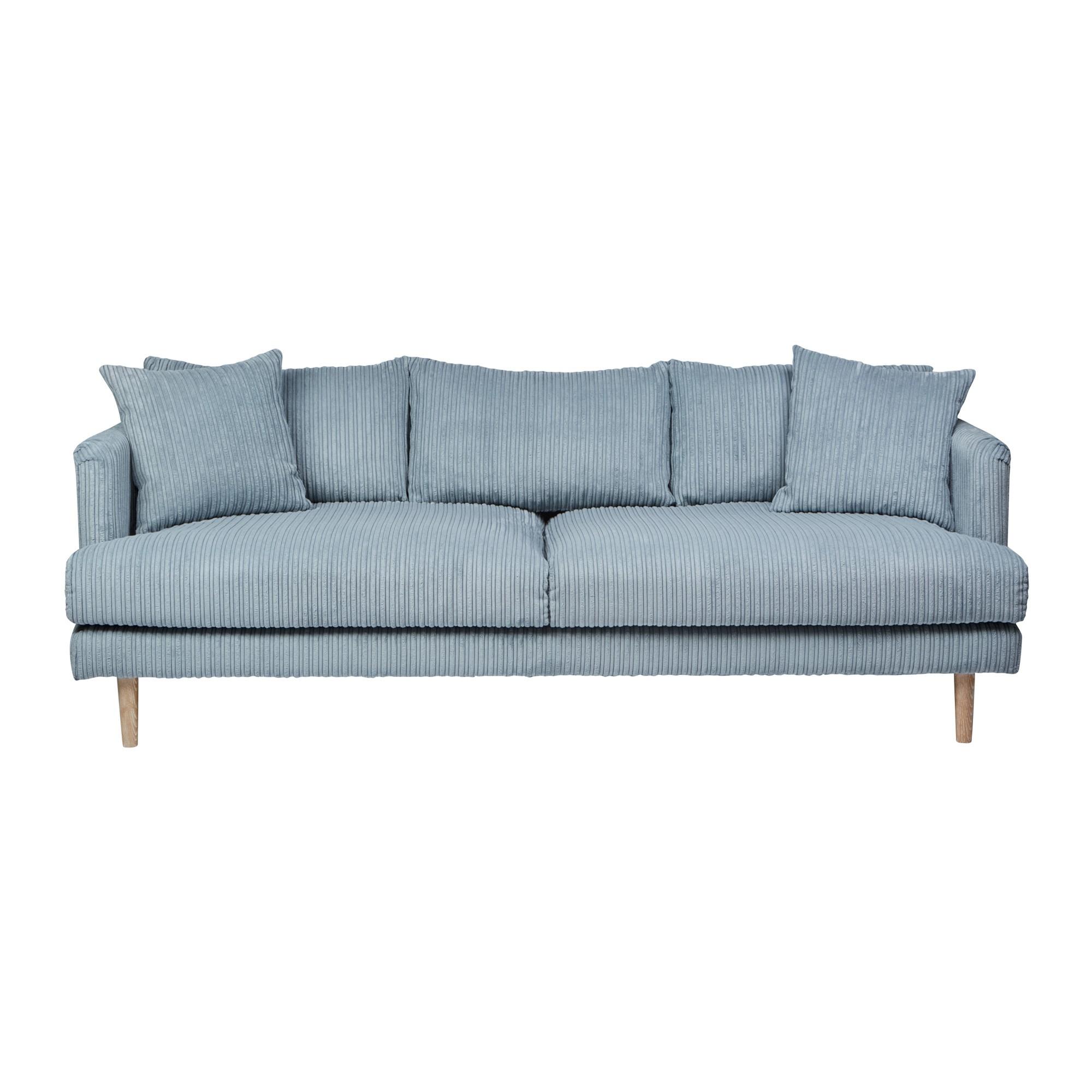Capetown Ribcord Fabric Sofa, 3 Seater, Aqua