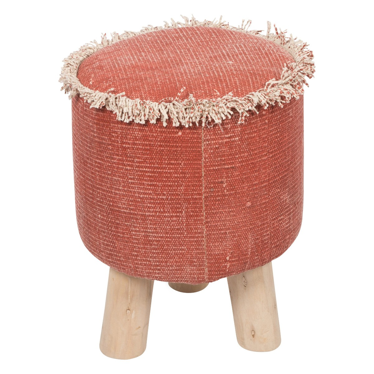 Kitson Stone Washed Cotton Round Ottoman Stool, Red
