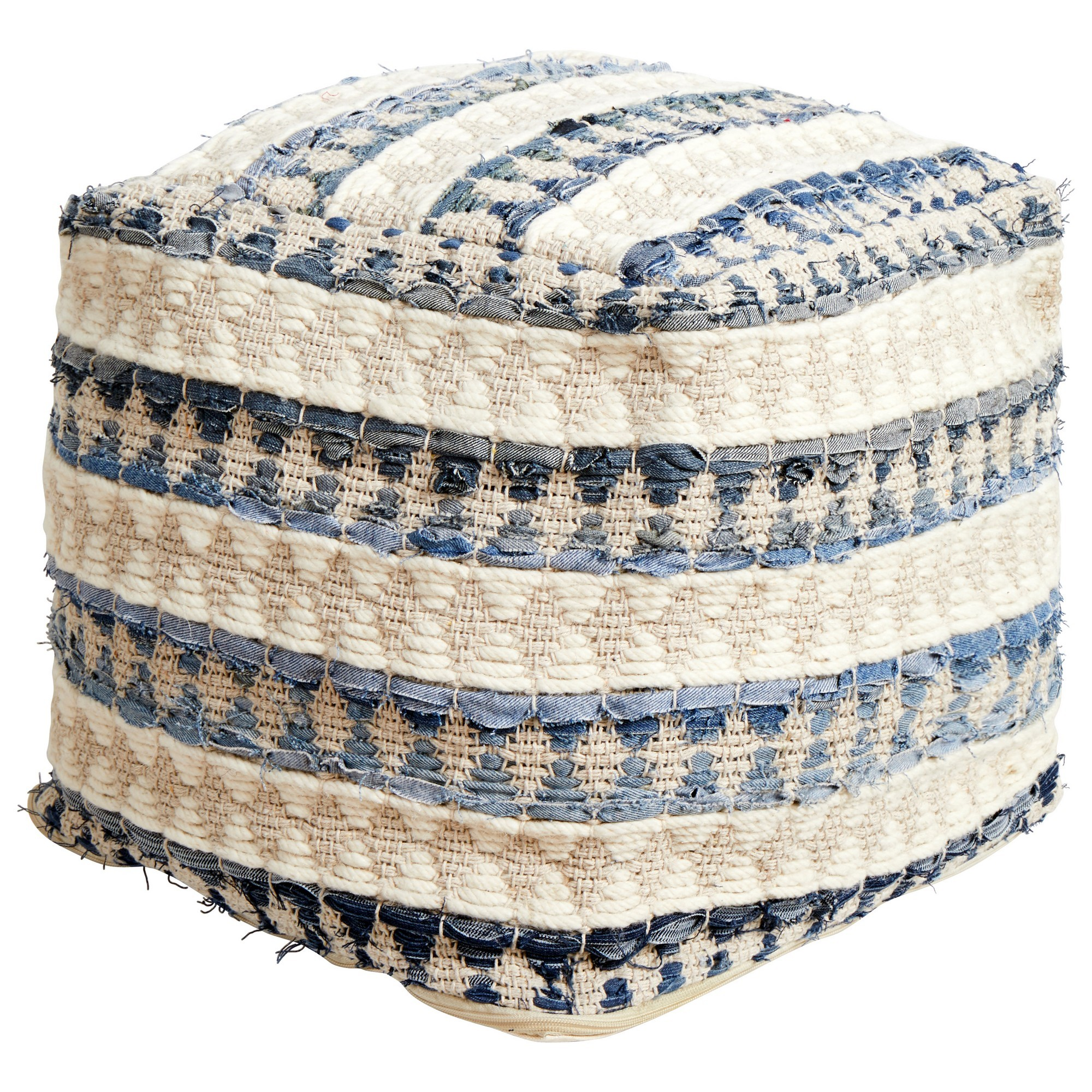 Calliope Handcrafted Wool & Denim Ottoman, Blue